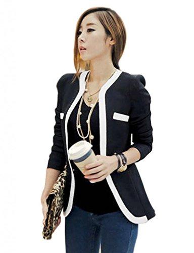Damen Blazer kurz Jacke Oberteil Tops ohne Kragen DR498 Schwarz Gr.l