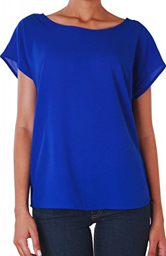 Humble Chic Women'S Bow Back Short Sleeve Blouse - Royal - Large - Lightweight Chiffon Top front-944298