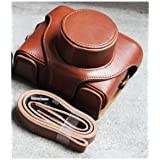 Bluecell Light Brown leather classic DC digital camera protection case/bag/cover for Fujifilm X10 EXR CMOS with f2.0-f2.8 4x Optical Zoom Lens