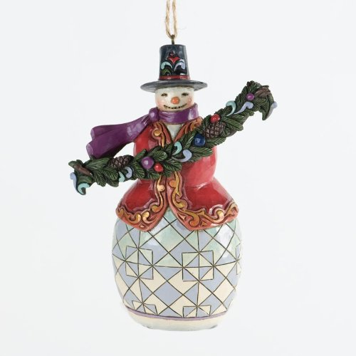 Jim Shore for Enesco Heartwood Creek Snowman with Bough Ornament, 4.5-Inch
