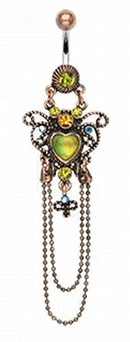Vintage Style Heart Chandelier Navel Belly Button Ring With Chain Dangle