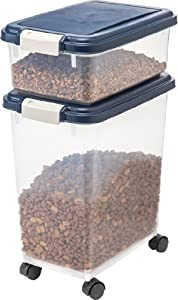 IRIS Airtight Pet Food Storage Container Combo, 12 Quart, 33 Quart, Navy