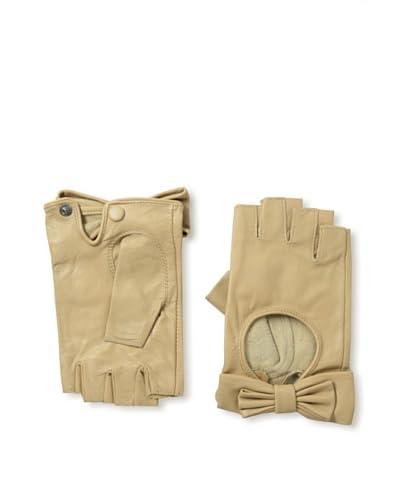 Carolina Amato Women's Bow Fingerless Gloves  [Beige]