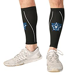 Bitly Graduated Calf Compression Sleeve - Improved Leg Circulation & Pain Relief for Runners, Athletes & More-Lifetime Warranty (Large)