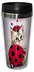 Tree-Free Greetings 77033 Lady in Red Collectible Art Sip N Go Travel Tumbler, 16-Ounce, Stainless Steel, Multicolored