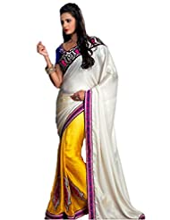 AG Lifestyle Off White & Yellow Georgette & Jacquard Saree With Unstitched Blouse ASL709