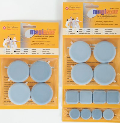 MagiGLIDE 16 Piece Multi Set contains 4x25mm, 8x50mm Discs & 4x30mm Pads. The ULTIMATE Dual Purpose glider with easy movement & complete floor protection, endorsed by Karndean Designflooring