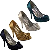 Womens Ruched Satin High Heel Court Shoes