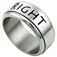 Stainless Steel 3/8 in. (9 mm) Choose The Right Spinner Ring (Available in Sizes 7 to 13), size 13