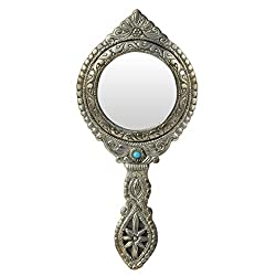 Handicrafts Paradise Hand Mirror Round shape Beautifully Carved in Metal