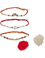 Ellegent Exports Red, Golden, Silver Non-Precious Metal Rakhis For Men And Women (RK_087)