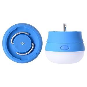 Sunix Cobblestone Lampe LED Ultra-brillante - Lumière de Camping à la luminosité réglable - Très longue durée de vie de la batterie! Idéal pour La randonnée, le camping, et bien plus encore! IPX4 étanche avec 3 piles AAAs incluses!