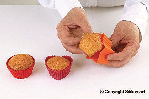 Silikomart 25.420.01.0069 - Kit de 6 Moldes de silicona para Cupcakes en color rojo