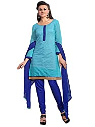 Inddus Women Sky Blue Colored Embroidered Dress material
