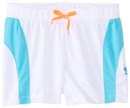 Puma Big Girls' Multi Colorblock Short, White, Large front-1016202