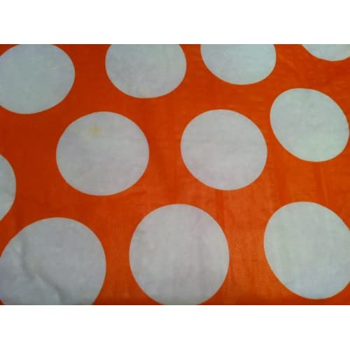 "Orange Vinyl Tablecloth with Big White Polka Dots 52"" X 90"" Oblong"