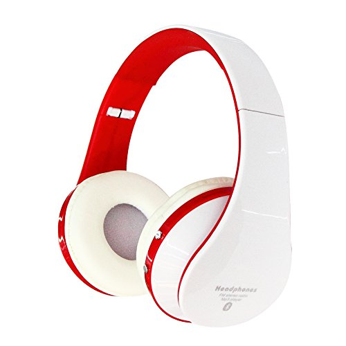 Jiafeng® Eb203 Bluetooth Wireless Headphone Bluetooth3.0 + Edr Tracks Headset Support Line-In Mode Multi-Media Playing Micro-Sd Card (16Gb) Music Playing For Iphone 5S Samsung Galaxy S5 Htc One Sony Xperia (Not Include Micro-Sd Card) (White-Red)