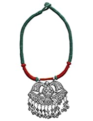 Exotic India Lord Ganesha Cord Necklace With Charms - Sterling Silver