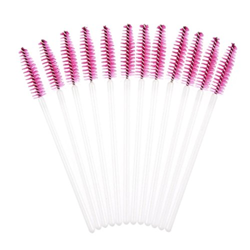 rosennie-50pcs-disposble-eyelash-brush-mascara-wands-makeup-cosmetic-tool-hot-pink