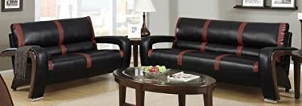 2-Piece Sofa Set in Black/Red Bonded Leather by Poundex