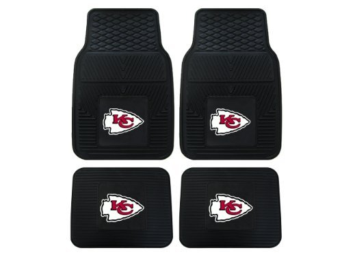A Set of 4 NFL Universal Fit Front and Rear All-Weather Floor Mats - Kansas City Chiefs (Kansas City Chief Car Mats compare prices)