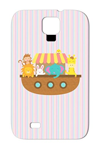 Noah Ark, Cute Animals, For Kids Orange Boat Bunny Animals Nature Elephant Giraffe Ship Wildlife Lion Ark Noahs Ark Sumsang Galaxy S4 Tpu Case front-336040