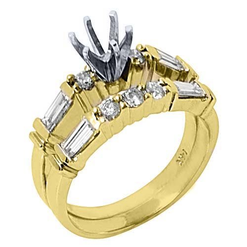 14k Yellow Gold Baguette & Round Diamond Engagement
