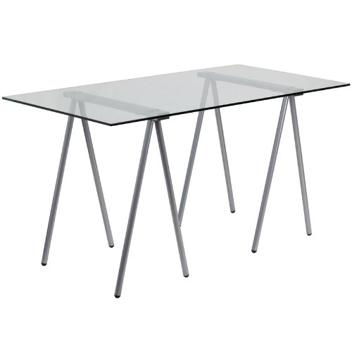 Flash Furniture Glass Computer Desk  Silver Frame