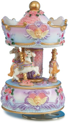MusicBox Kingdom 14138 Carousel with Angel Bust Music Box Playing