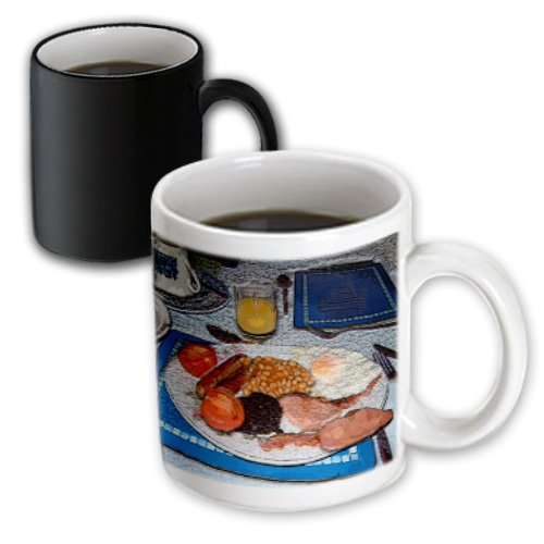 Mug_44648_3 Jos Fauxtographee Realistic - Traditional English Breakfast Of Juice, Beans, Blood Pudding,Fried Eggs,Sausage And Tomatos Textured - Mugs - 11Oz Magic Transforming Mug