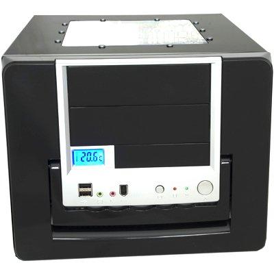 EV Shiny Piano Black 500watt MATX Cube Case with Acrylic Side/Top Windows,Blue 12cm Fan