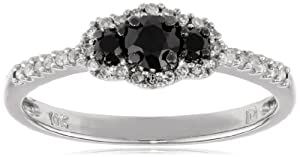 10k White Gold Black and White Diamond Engagement Ring (0.5 Cttw, G-H Color, I2-I3 Clarity), Size 8