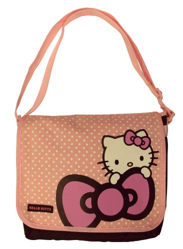 Hello Kitty Girls Spotty Travel / School / Kids / Messenger Bag - Pink & Chocolate