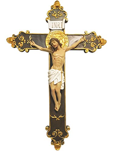 Wall Mounted Resin Jesus Christ on Inri Cross Wall Crucifix Home Chapel Decoration (12 Inch) (Resin Wall Cross compare prices)