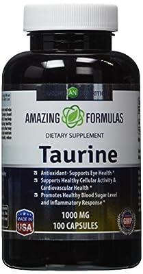 Amazing Nutrition Taurine 1000 Mg 100 Capsules - Pharmaceutical Grade - Antioxidant Amino Acid