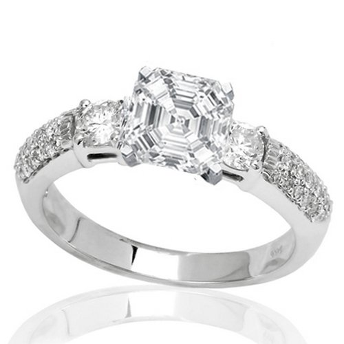 For sale 1.36 Carat Asscher Cut / Shape GIA Certified 14K White Gold Three Row Bostonian 3 Stone Pave Set Diamond Engagement Ring ( D Color , SI1 Clarity )