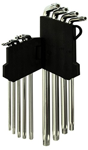 Bastex 9pc Allen Tool Set Anti Tamper Proof Torx Star Key Bit Wrench L-Shape T10-T50 (Tamper Allen Key compare prices)