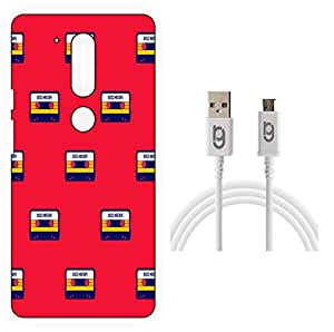 Designer Hard Back Case for Moto G4 Plus, 4th Gen with 1.5m Micro USB Cable