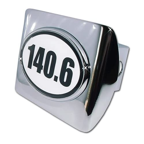 IronMan 140.6 Premium Chrome Metal Trailer Hitch Cover with White Oval Logo