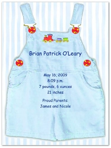 Blue Overalls Birth Announcements - Set of 20