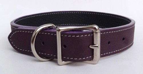 Luxury Italian Leather Tuscany Dog Collar - Eggplant Purple