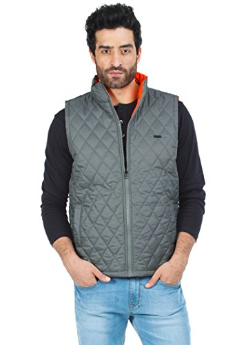 Zovi Men Polyester Light Grey Sleeveless Jacket With Neon Orange Accents