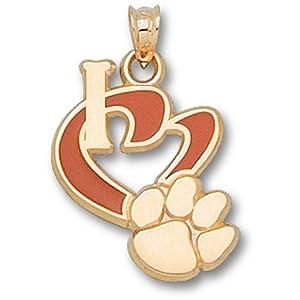 Clemson University I Heart Paw 3 4 Enamel - 14K Gold by Logo Art