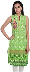 Geroo Women's Cotton Regular Fit Kurta (MKK-1503AZ, Green, M)