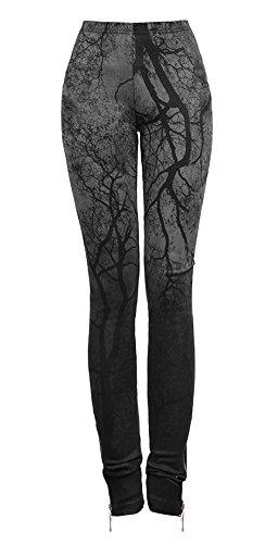 Pantaloni scuro, con motivo ad albero, colore: nero, motivo gotico, rock Punk Rave nero Large