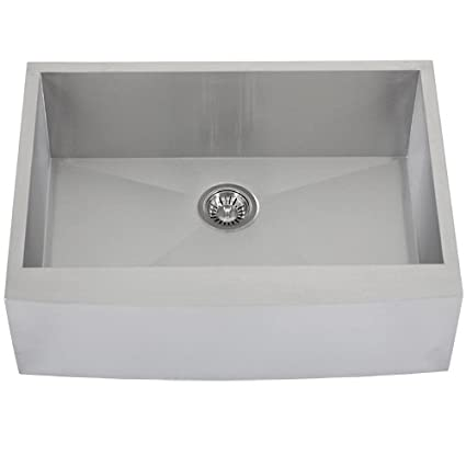 "Phoenix PH-4450 Zero Radius 30"" Apron Farmhouse Single-Bowl Curved Front 16-Gauge Stainless Steel Kitchen Sink"
