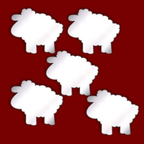 CHRISTMAS Tree Decorations - SHEEP STAR Acrylic Mirrors - Pack of 5 (5cm. Each)
