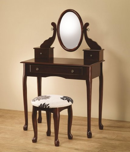 Vanity with Tilting Mirror Coordinating Stool in Cherry Brown by Coaster