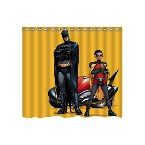 Batman And Robin Fabric Washable Shower Curtain