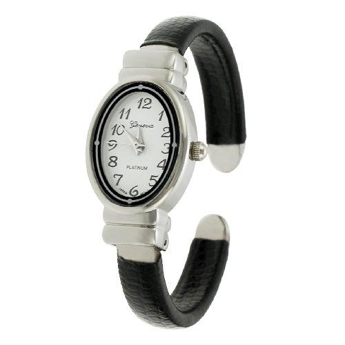 Geneva Platinum Ladies Oval Faced Cuff Watch (Watch Geneva Platinum compare prices)